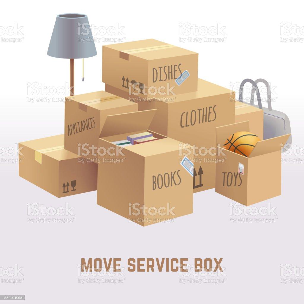 Move service box, package, cargo vector concept vector art illustration