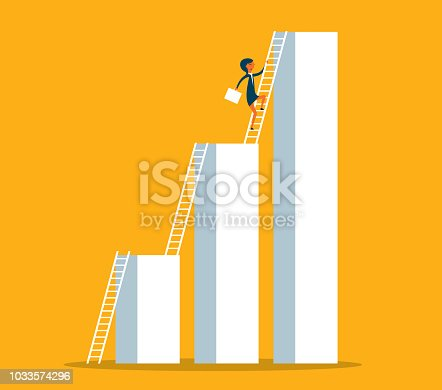 Businesswoman climbing to higher profit graph