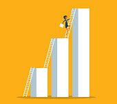 Businesswoman climbing to higher profit graph