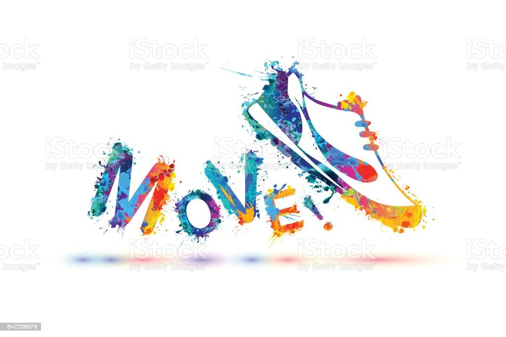 Move! Vector sign. Sneakers. vector art illustration