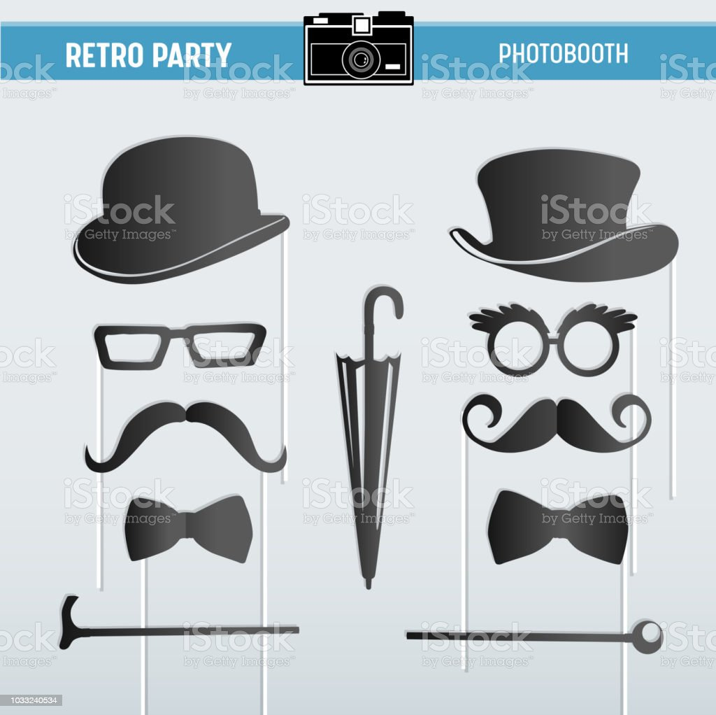 Movember Retro Party Printable Glasses Hats Moustaches Masks