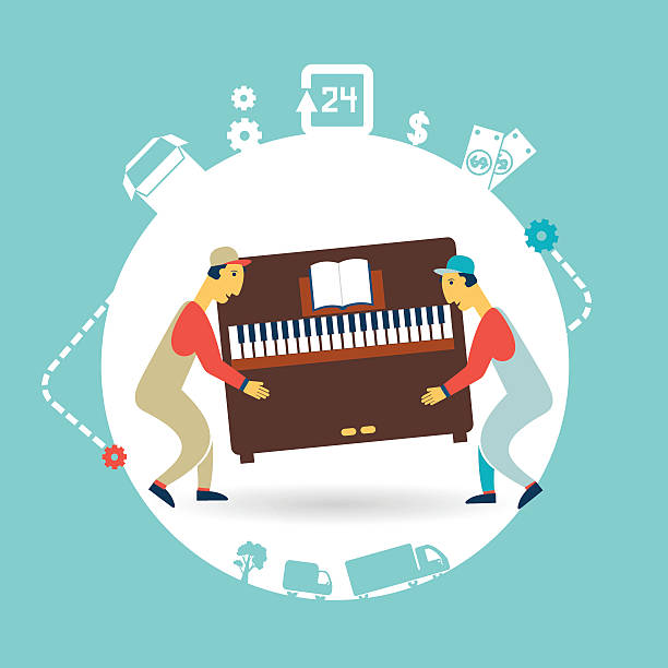 movers carry furniture piano illustration vector art illustration
