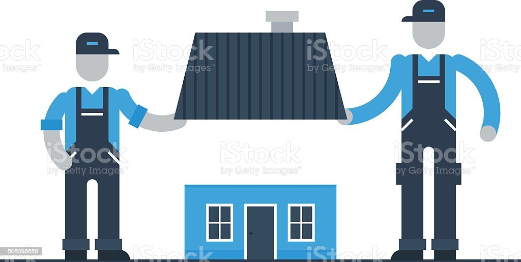 Movers, roof repair vector art illustration