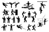 istock Movie action hero fight scene icons pictogram. 1226837553