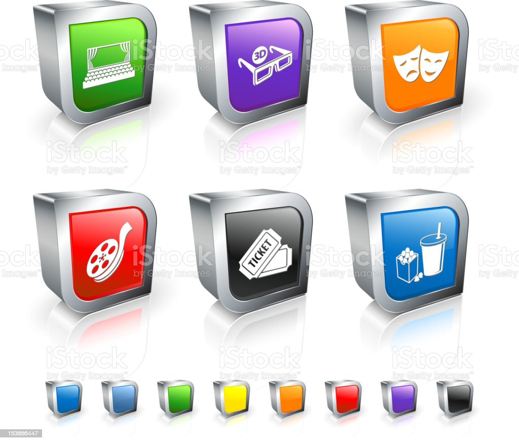 movie and cinema 3D royalty free vector icon set royalty-free stock vector art