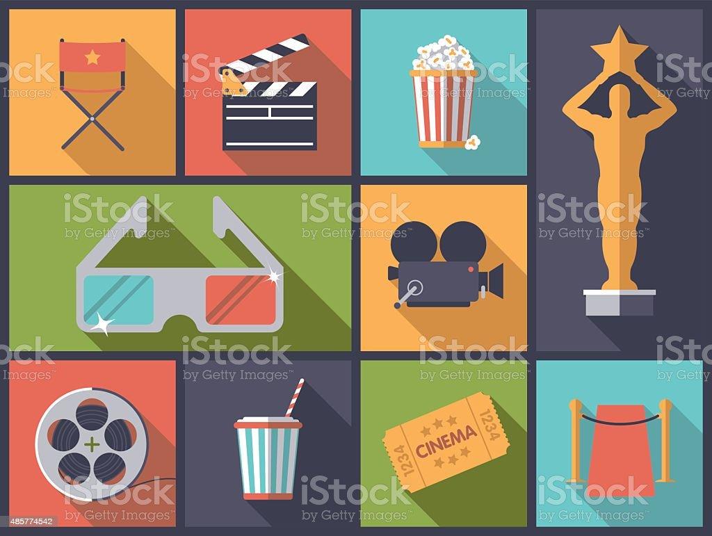 Movie and Cinema icons vector illustration. vector art illustration