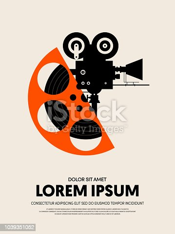 Movie and film festival poster template design modern retro vintage style. Can be used for background, backdrop, banner, brochure, leaflet, publication, vector illustration