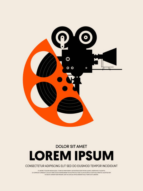 Movie and film festival poster template design modern retro vintage style Movie and film festival poster template design modern retro vintage style. Can be used for background, backdrop, banner, brochure, leaflet, publication, vector illustration performing arts event stock illustrations