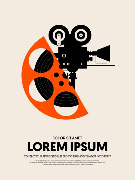 illustrazioni stock, clip art, cartoni animati e icone di tendenza di movie and film festival poster template design modern retro vintage style - cinema
