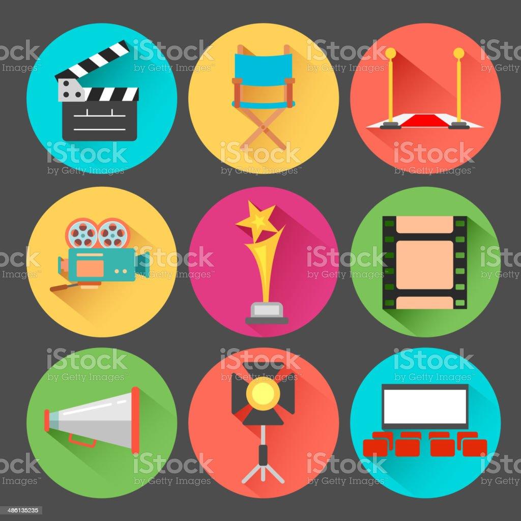 Movie and Film icon set vector art illustration