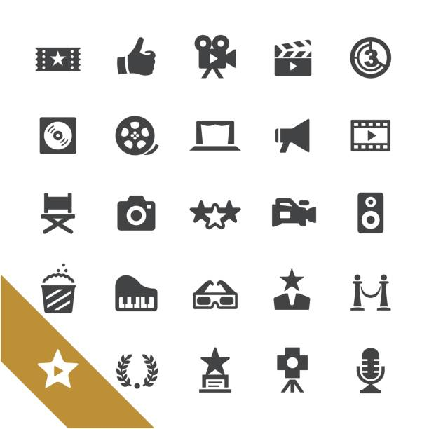 movie and film industry icons - select series - music and entertainment icons stock illustrations