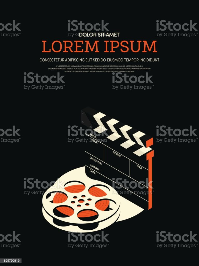 Movie and film modern retro vintage poster background vector art illustration