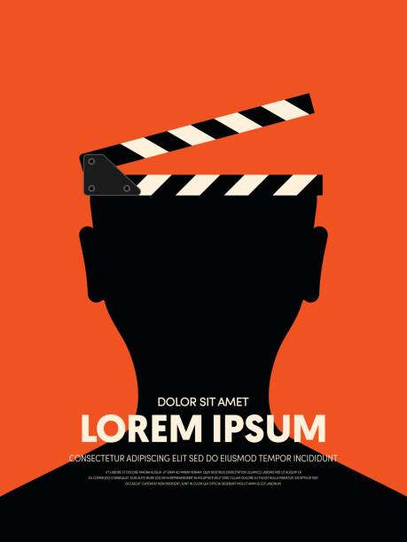 Movie and film modern retro vintage poster background Movie and film modern retro vintage poster background. Design element template can be used for backdrop, brochure, leaflet, publication, vector illustration performing arts event stock illustrations