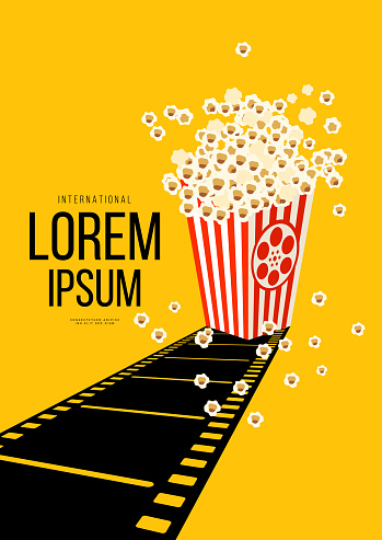 Movie and film poster design template background with retro filmstrip and popcorn