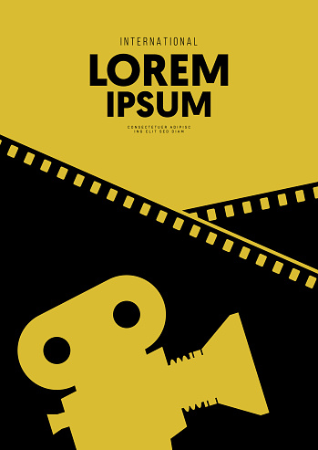 Movie and film poster design template background with vintage film camera