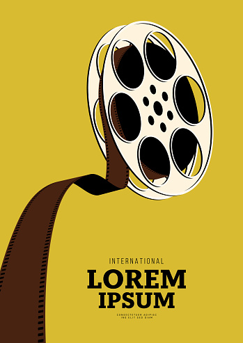 Movie and film poster design template background with vintage film reel