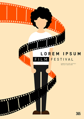 Movie and film poster design template background with young man and filmstrip