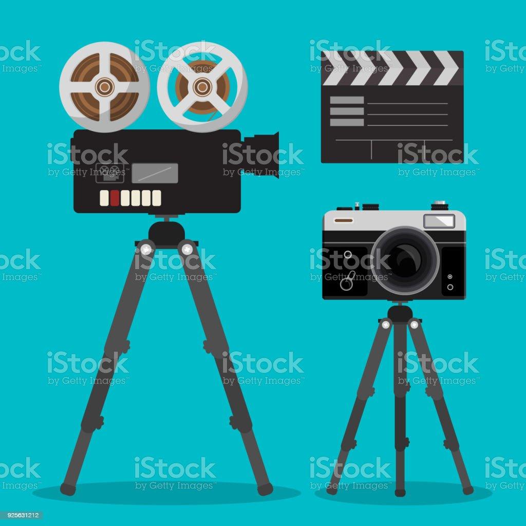 Movie and Photo Film Cameras Set on Tripod vector art illustration