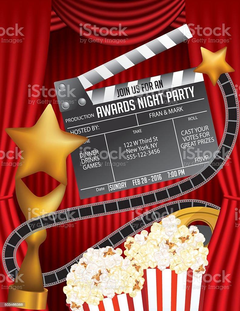 Movie Awards Night Party Invitation Template stock vector art ...