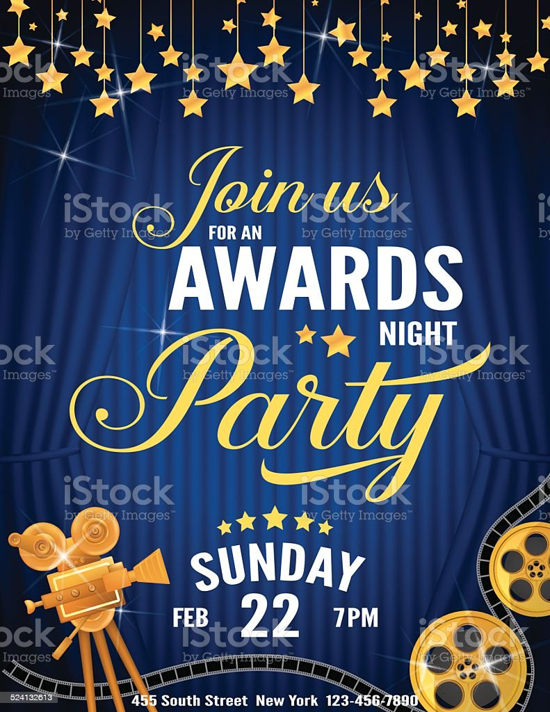 Movie Awards Night Party Invitation Template Stock Vector Art & More ...