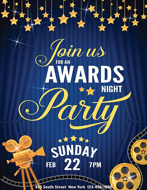 stockillustraties, clipart, cartoons en iconen met movie awards night party invitation template - photography curtains