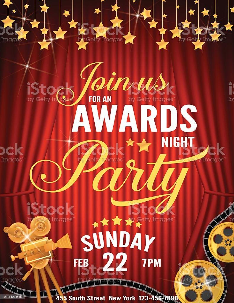 Movie Awards noche de plantilla de la invitación - ilustración de arte vectorial