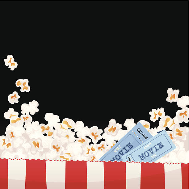 stockillustraties, clipart, cartoons en iconen met movie background - popcorn