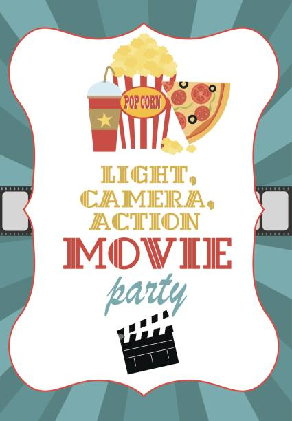 Royalty free retro movie night invitation design template clip art movie birthday party invitation card vector art illustration stopboris Gallery
