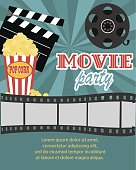 movie birthday party invitation card stock vector art more images