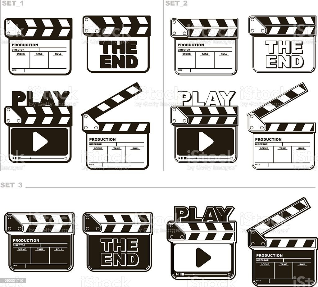 Movie black and white clapper boards set royalty-free movie black and white clapper boards set stock vector art & more images of arts culture and entertainment