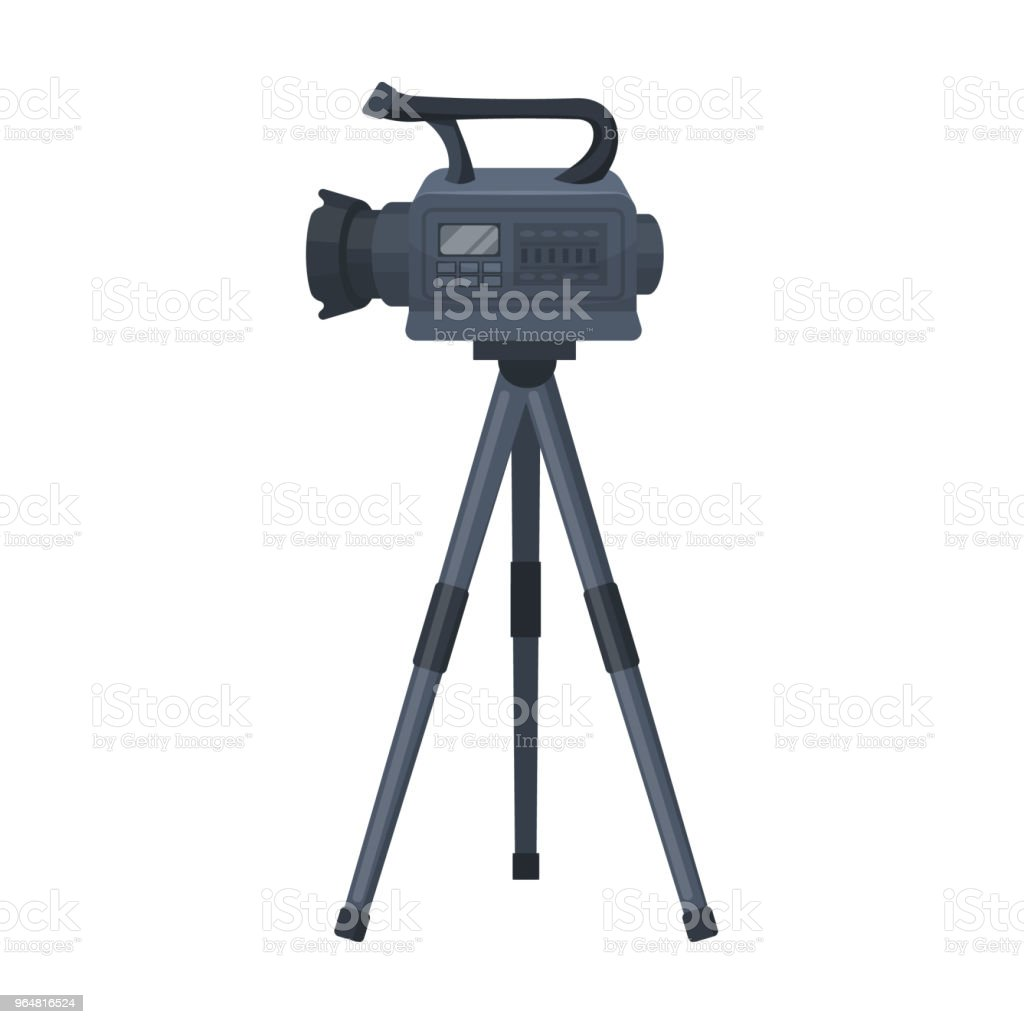 Movie camera on a tripod. Making a movie single icon in cartoon style vector symbol stock illustration web. royalty-free movie camera on a tripod making a movie single icon in cartoon style vector symbol stock illustration web stock vector art & more images of control