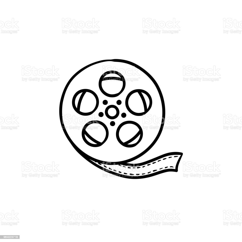 Movie camera reel hand drawn outline doodle icon - Royalty-free Analog stock vector