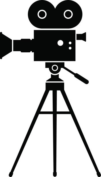 Royalty Free Vintage Film Camera Tripod Clip Art, Vector ...