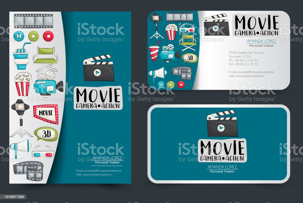 Movie cinema corporate identity design set flyer and business cards movie cinema corporate identity design set flyer and business cards vector illustrator royalty colourmoves