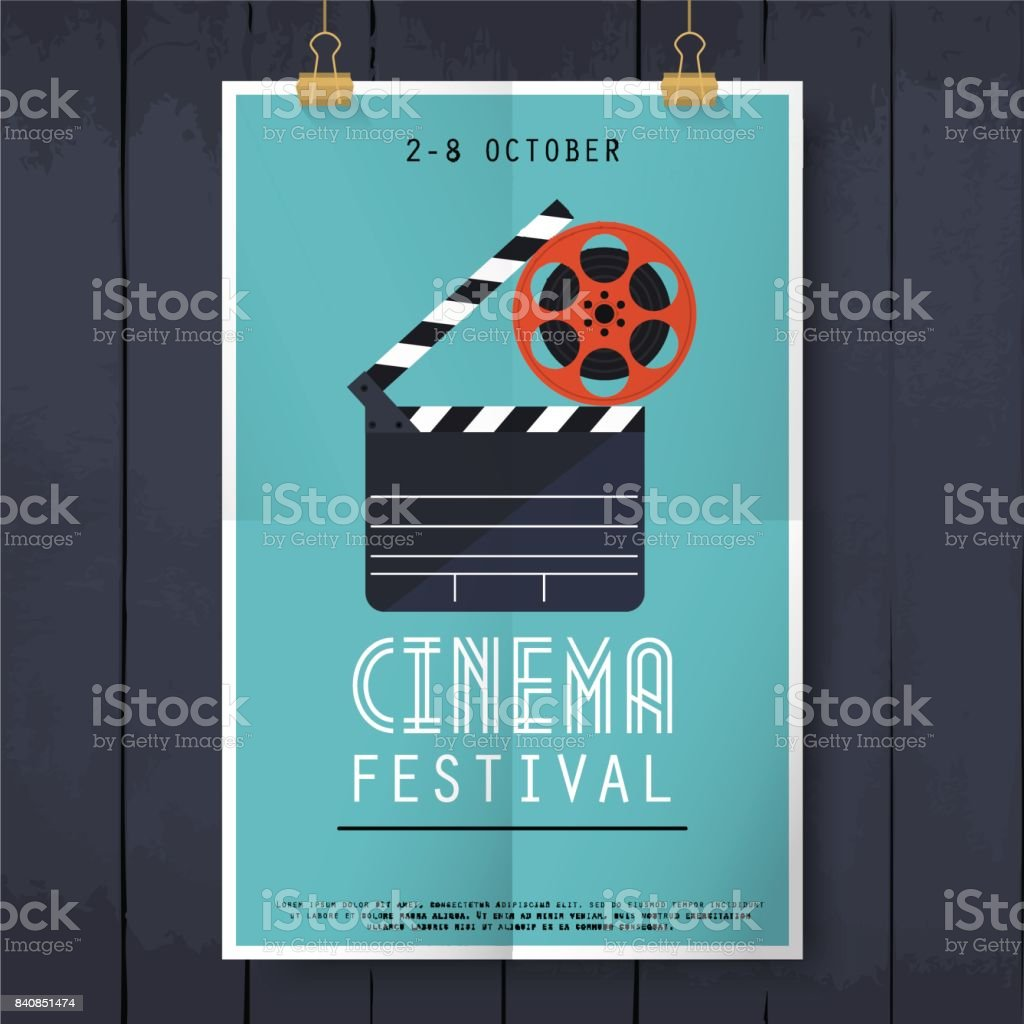 Movie cinema festival poster. Flat design modern vector illustration concept. royalty-free movie cinema festival poster flat design modern vector illustration concept stock illustration - download image now