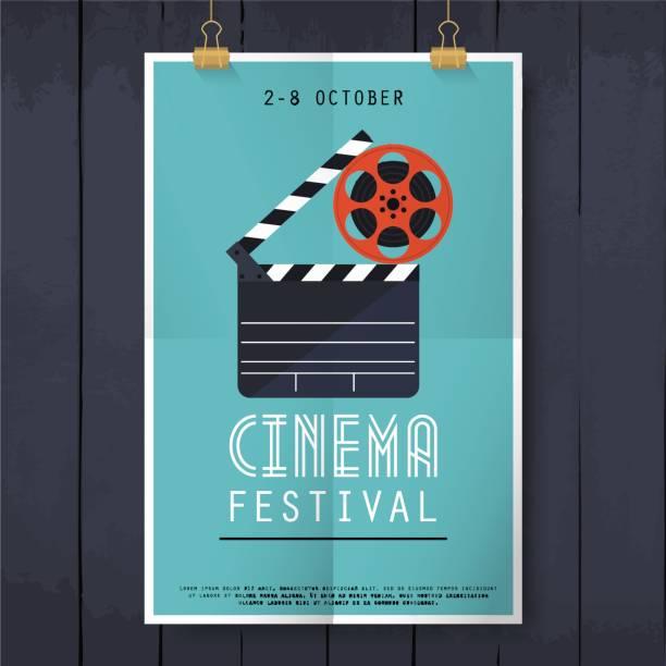 film kino festival-plakat. flaches design moderne vektor illustration konzept. - film stock-grafiken, -clipart, -cartoons und -symbole