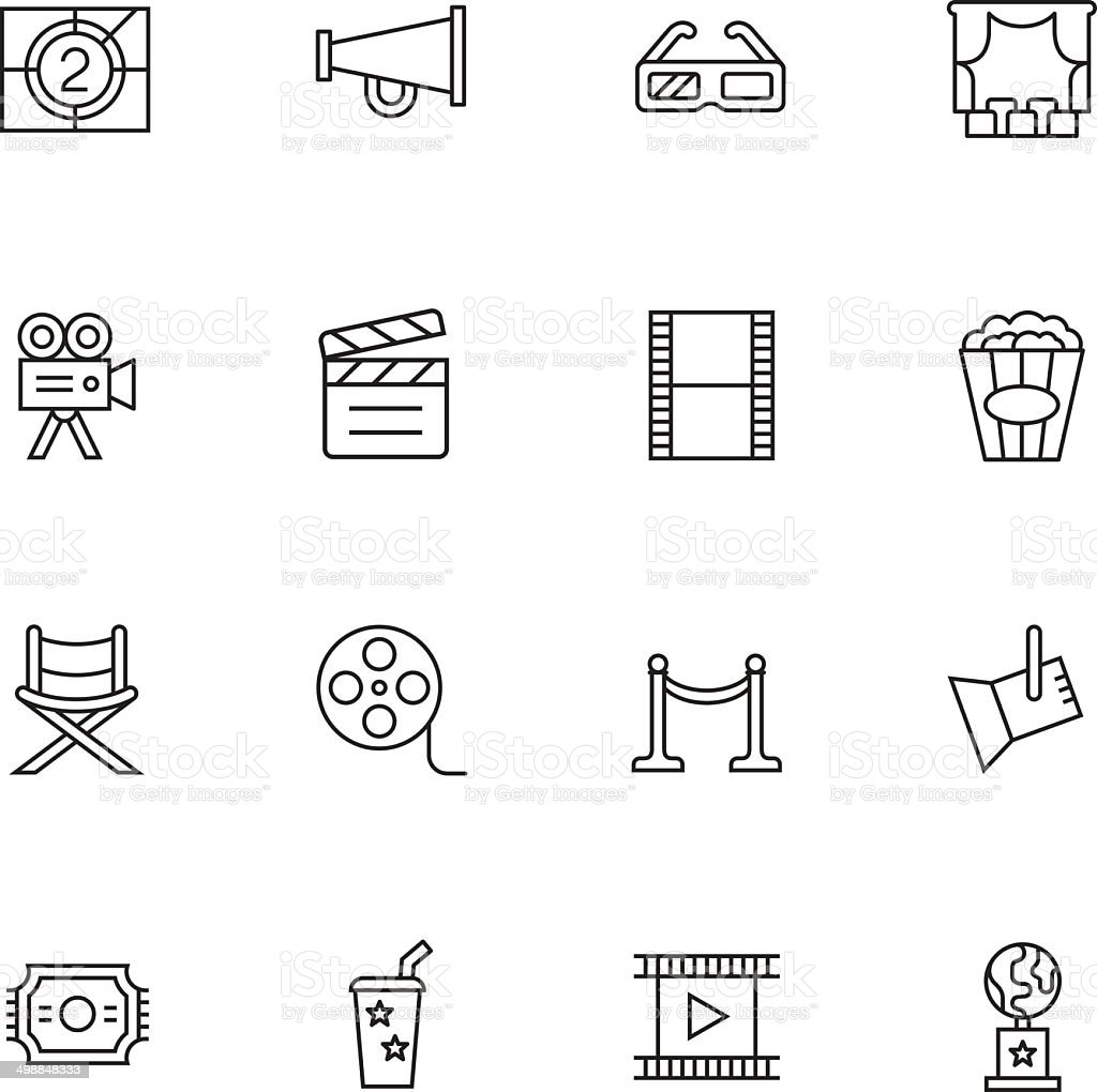 Movie & Cinema Icons - Light vector art illustration