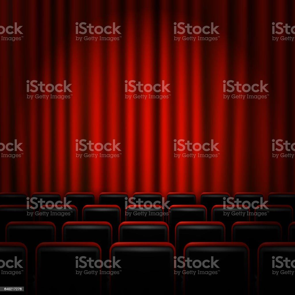 Movie cinema premiere poster design with red curtains. Vector banner. - ilustración de arte vectorial