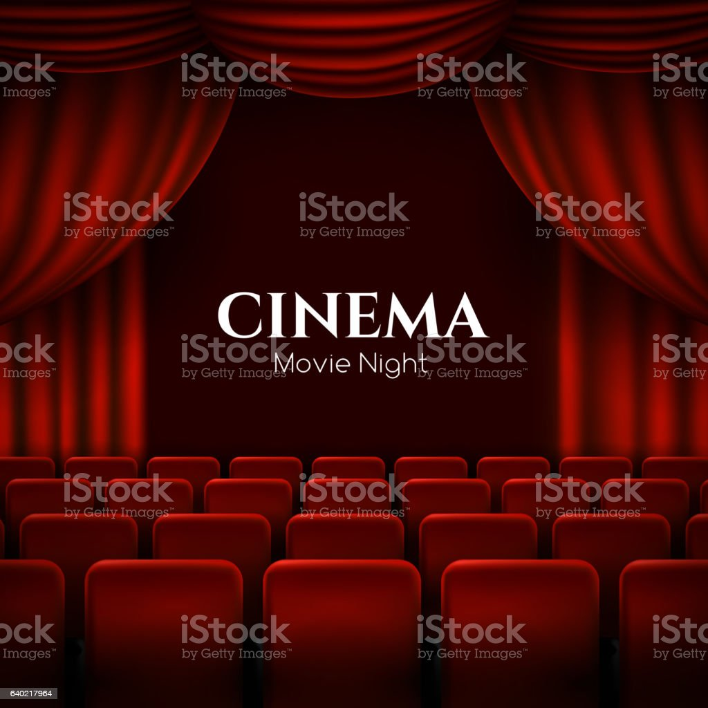 movie cinema premiere poster design with red curtains vector banner