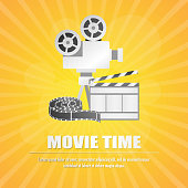 movie clapboard, with movie strip and popcorn at yellow background vector illustration