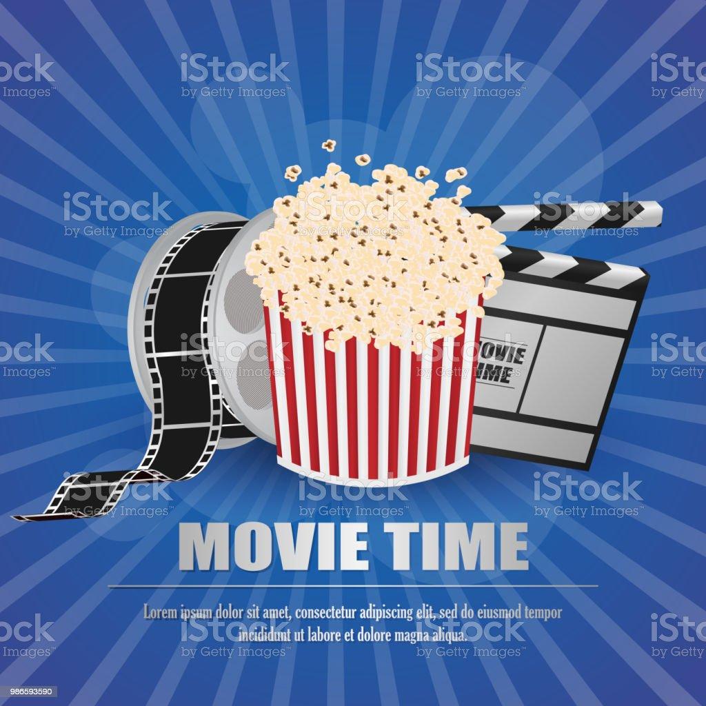 Filmschindeln Mit Moviestreifen Und Popcorn Auf Gelbem ...