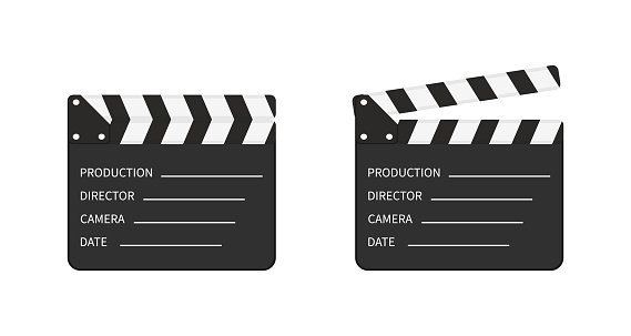 Movie clapper board. Slate of clapperboard. Director of film. take video with clapboard. movie clapper isolated. Action for production of film. Art of hollywood on cinema. Equipment for video. Vector