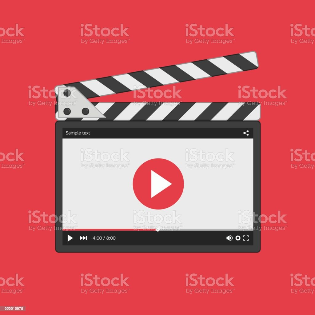 Movie clapper board with video player. vector art illustration