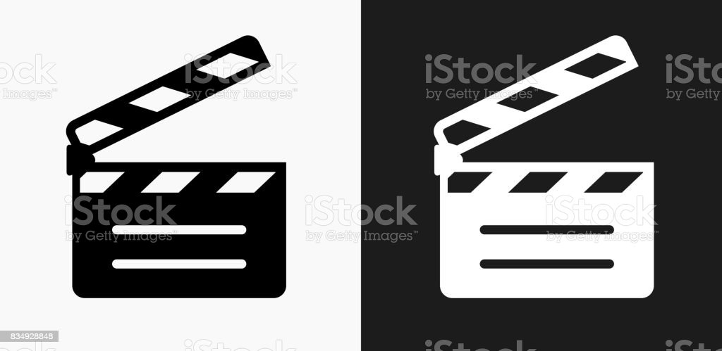 Movie Clapper Icon on Black and White Vector Backgrounds vector art illustration