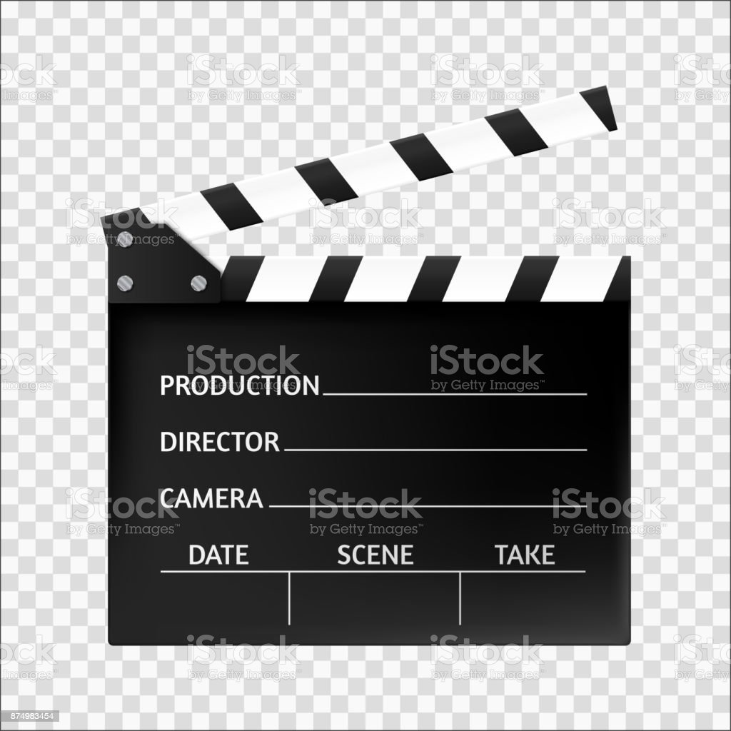 Movie clapper isolated. Cinema icon. Vector illustration vector art illustration