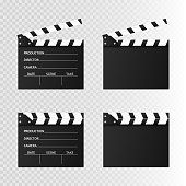 Movie clapper isolated on white. Black open clapperboard. Vector illustration.