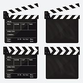 Movie clapperboard. Blank movie clapperboard. Vector.