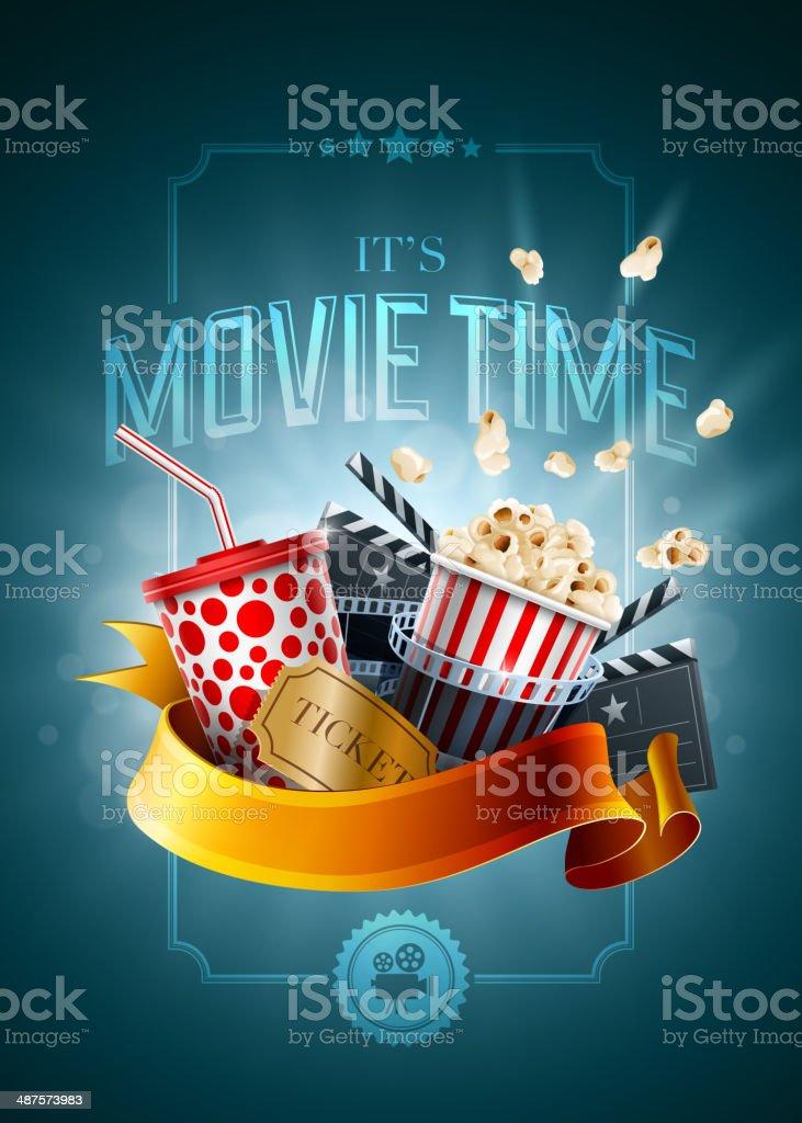 Movie concept poster design template vector art illustration