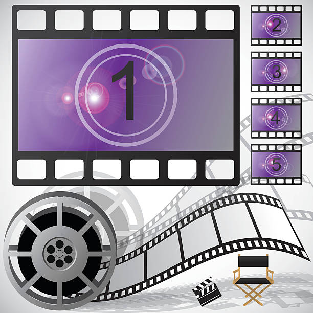 Movie countdown and reel, vector vector art illustration