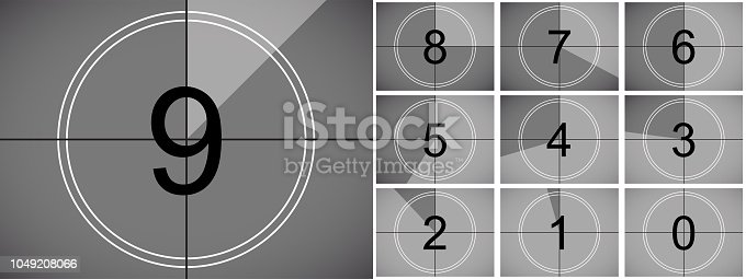 Movie countdown on vector retro vintage cinema film screen with circle timer